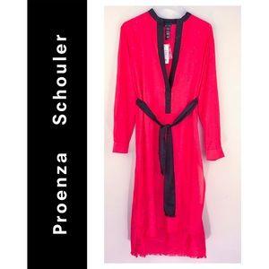 Proenza Schouler | Fringe Shirt Dress Watermelon M